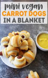 Mini Vegan Carrot Dogs in a Blanket - vegan appetizer