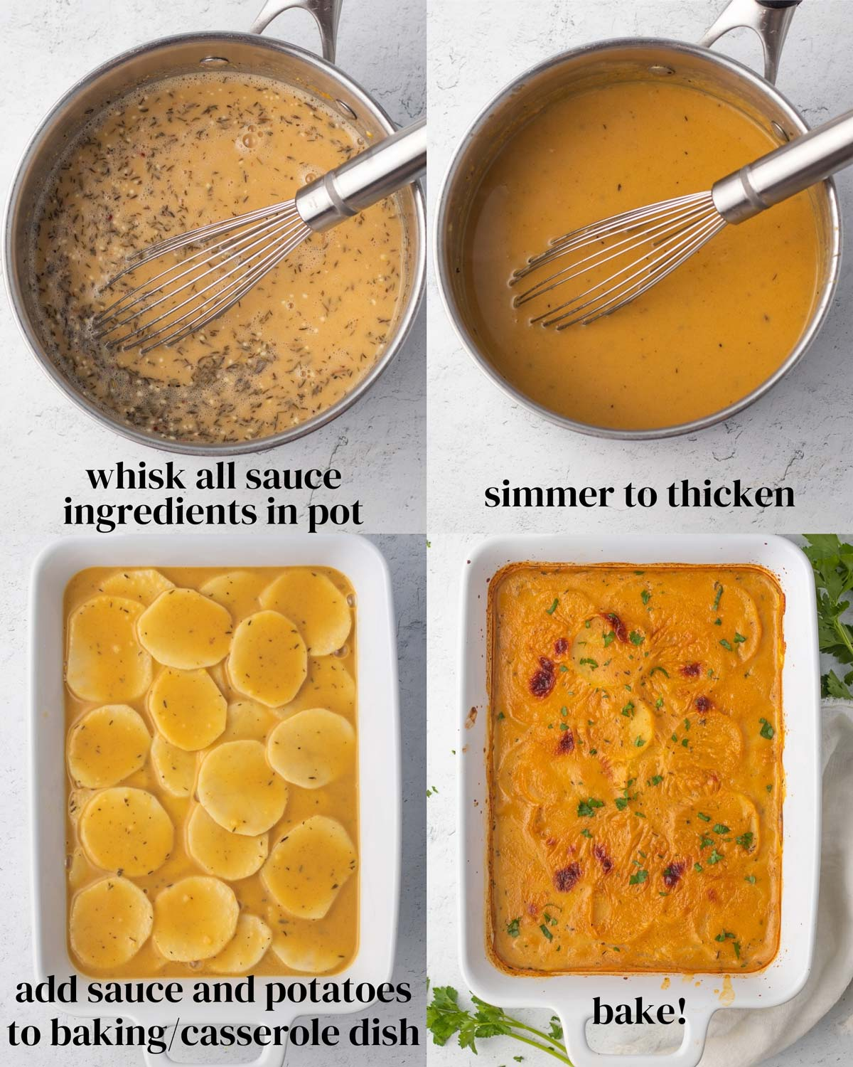 Collage of how to make these dairy-free scalloped potatoes.