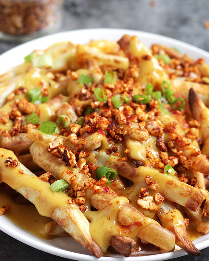 Vegan Bacon Cheese Fries - healthy, oil-free
