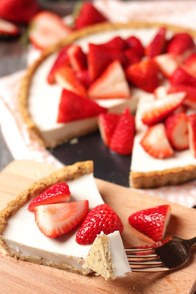 This easy strawberry and cream tart dessert is vegan, gluten-free, and oil-free.