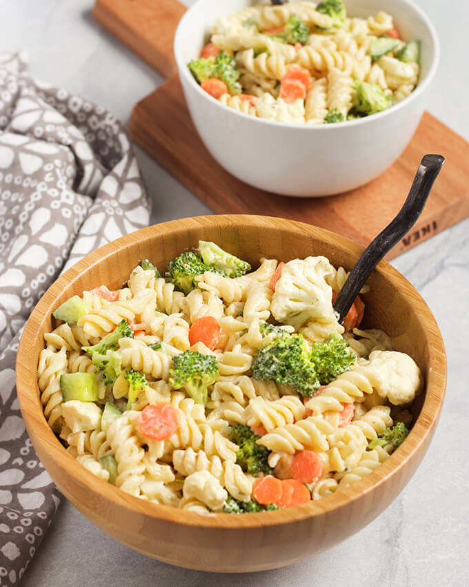 Vegan Ranch Pasta Salad - easy vegan side dish recipe