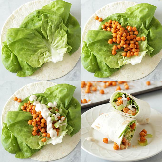 Easy Buffalo Chickpea Wraps - vegan lunch idea