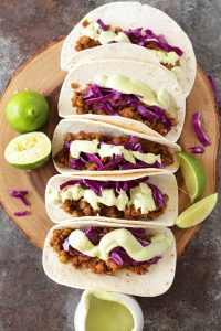 Vegan Lentil Tacos with Cashew Avocado Crema