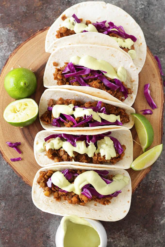 Vegan Lentil Tacos with Avocado Crema