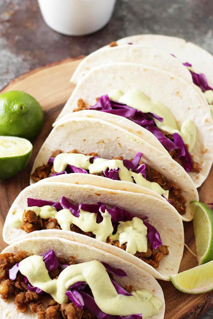 Vegan Lentil Tacos with Cashew Avocado Crema