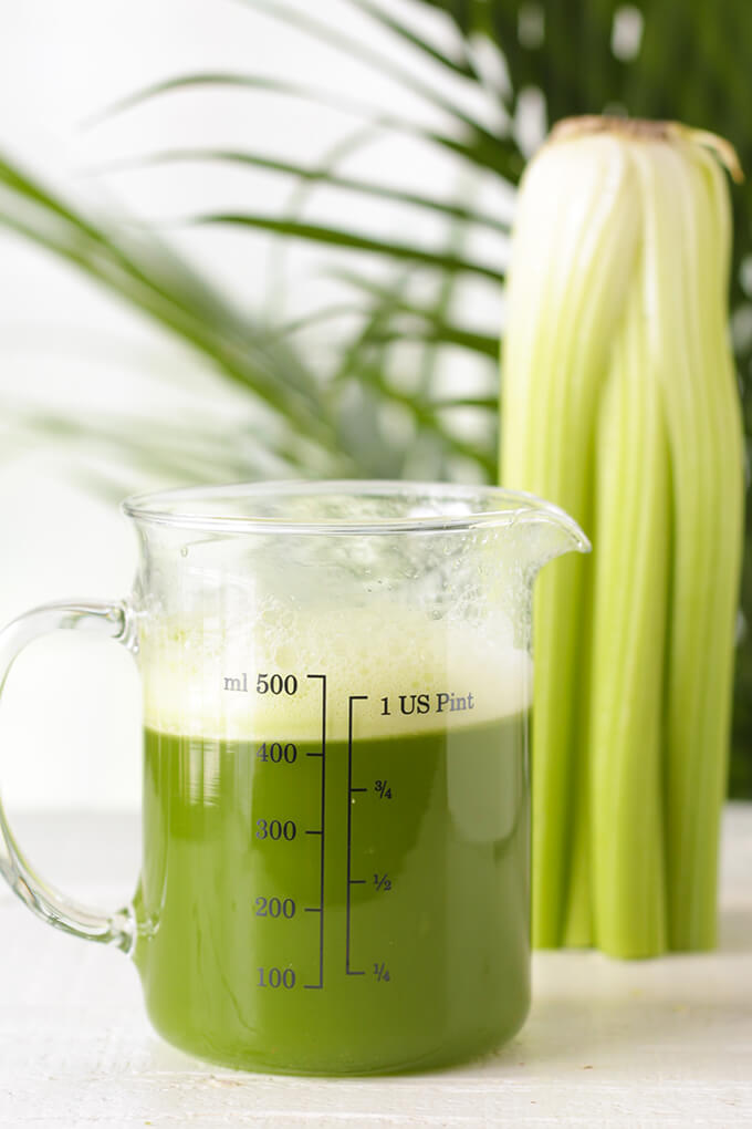 A pitcher full of celery juice.