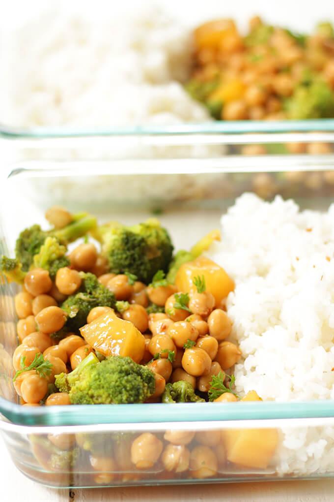 Vegan teriyaki meal prep bowls made with chickpeas and broccoli.
