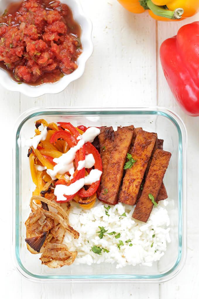 Vegan Baked Tofu Fajitas Meal Prep