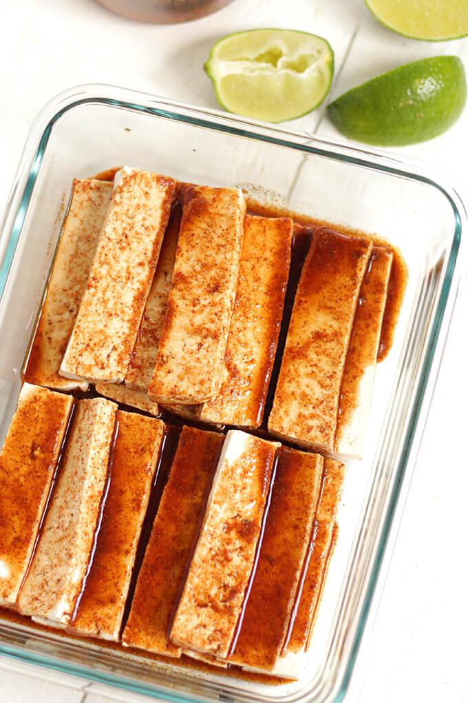 Vegan Baked Tofu Fajitas