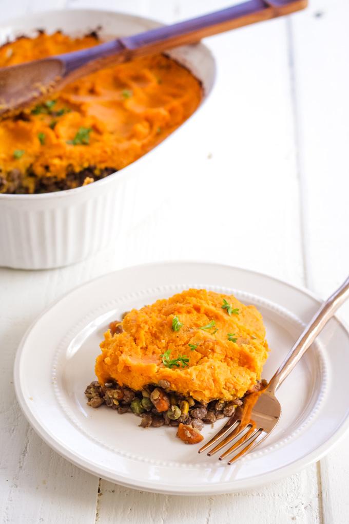 Sweet potato shepherd's pie, vegan and oil-free
