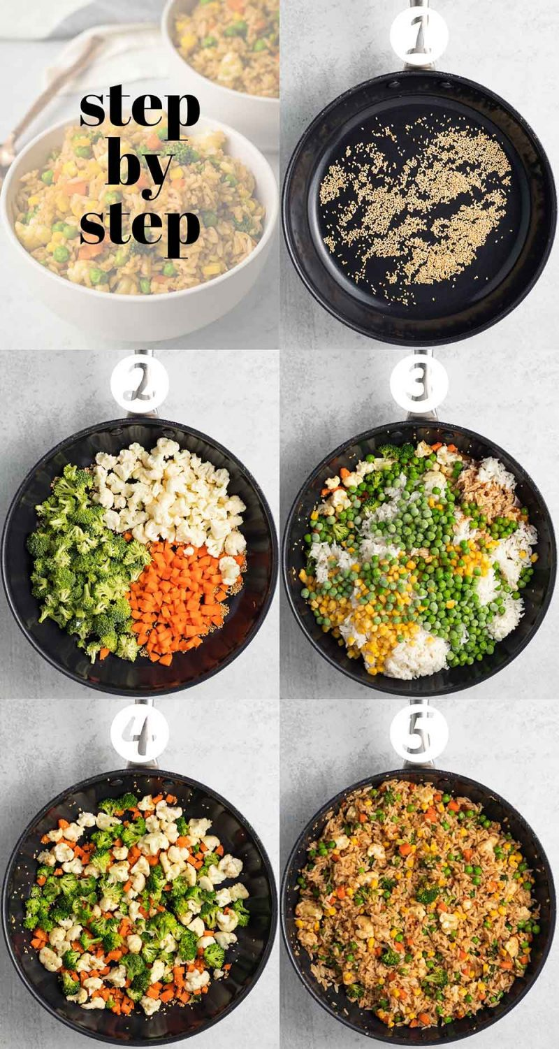 Step-by-step collage for vegan fried rice.