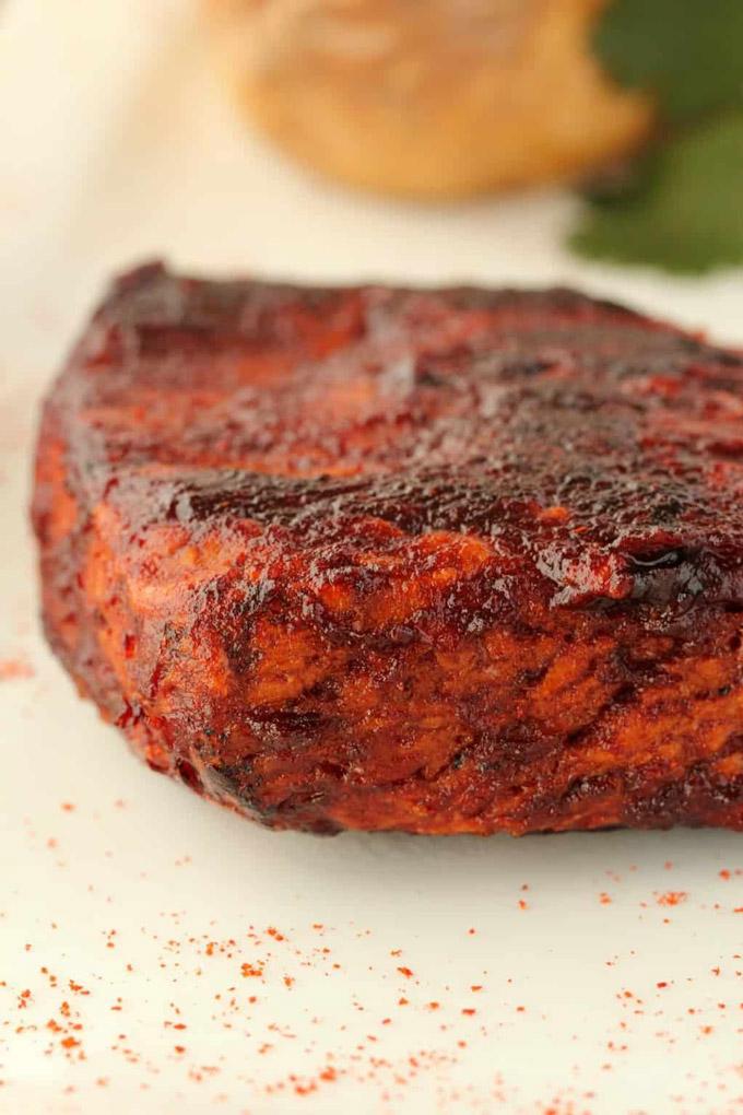 High-protein vegan steak made from seitan.
