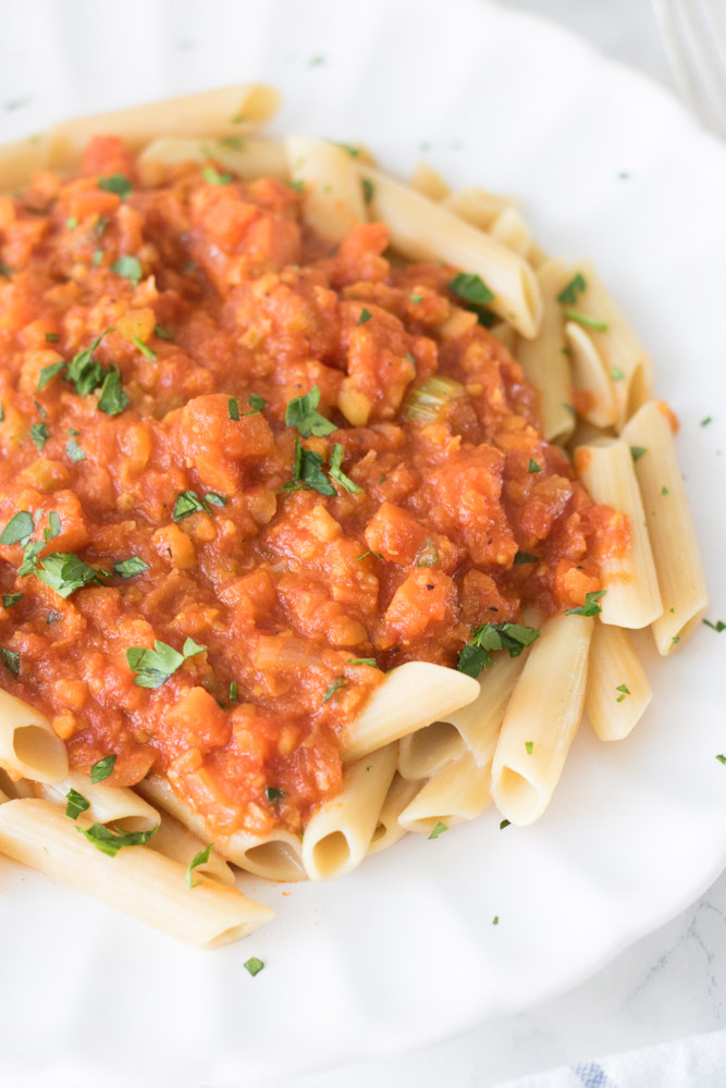 high-protein vegan chickpea bolognese pasta