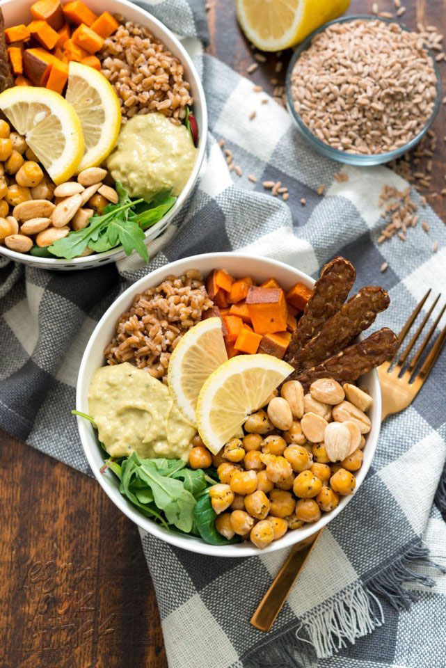 Healthy vegan bowl high in protein