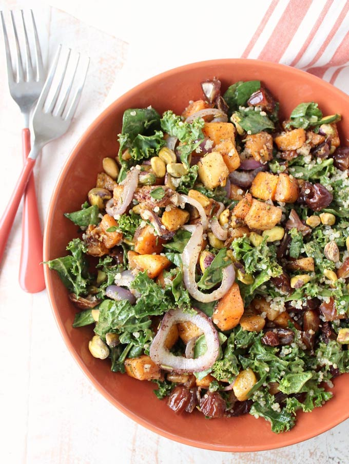 Butternut squash, spinach and kale salad