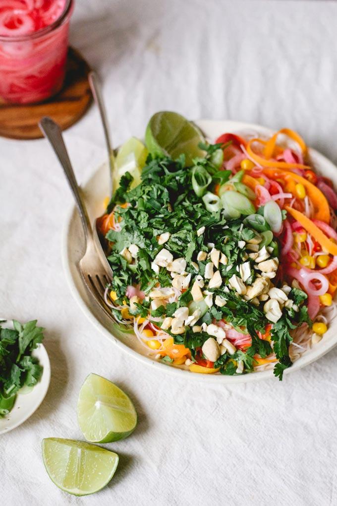 Zingy carrot rice noodle salad