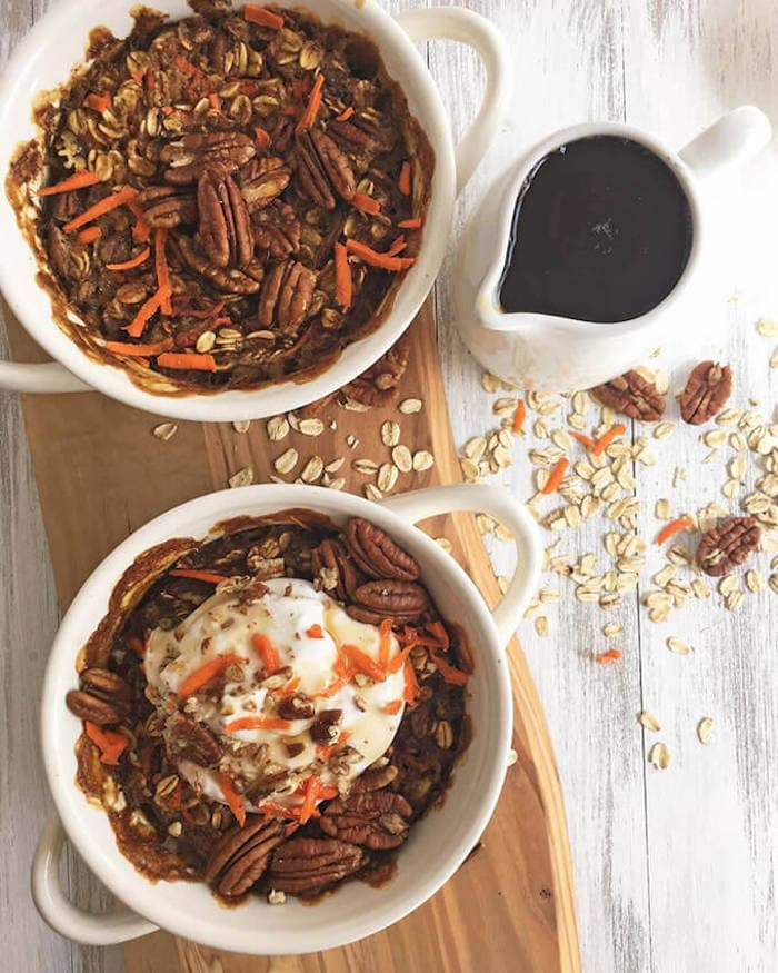 Make ahead vegan carrot cake baked oatmeal.