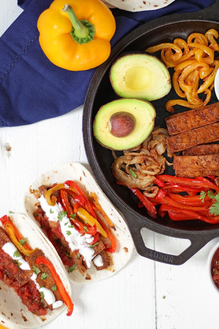 One Pan Tofu Fajitas with onions and bell peppers.