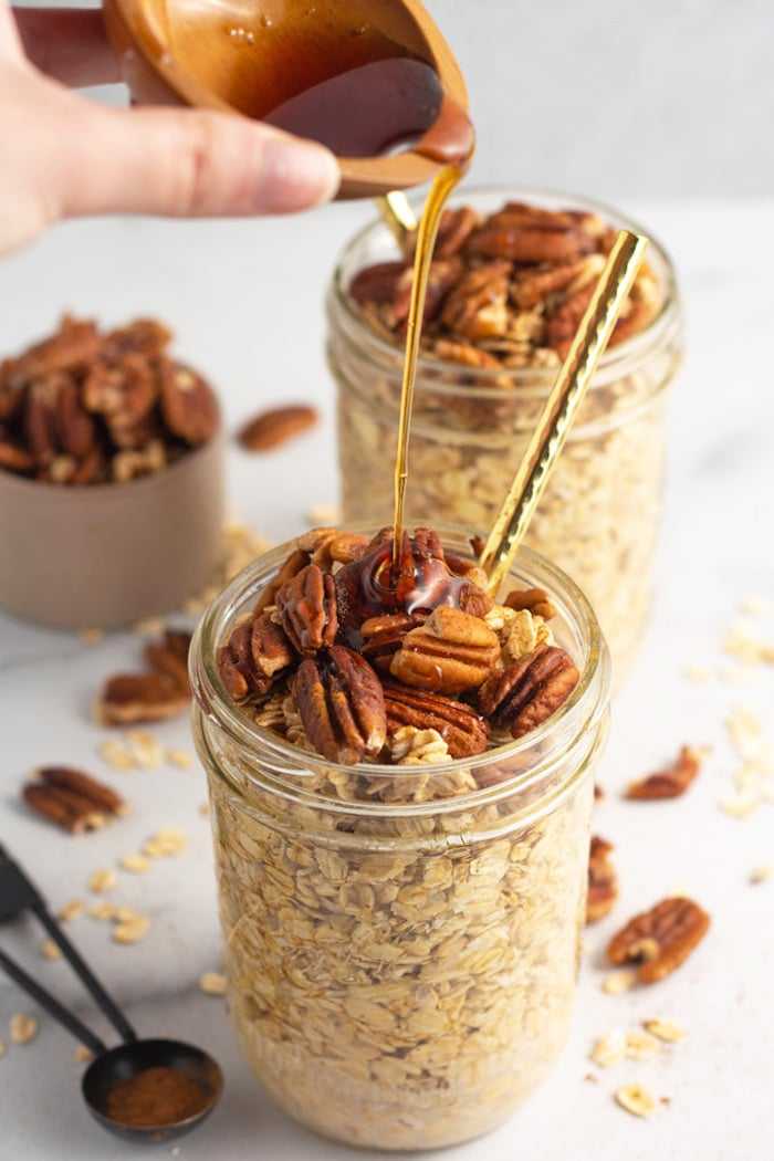 Make ahead maple pecan overnight oats in a jar