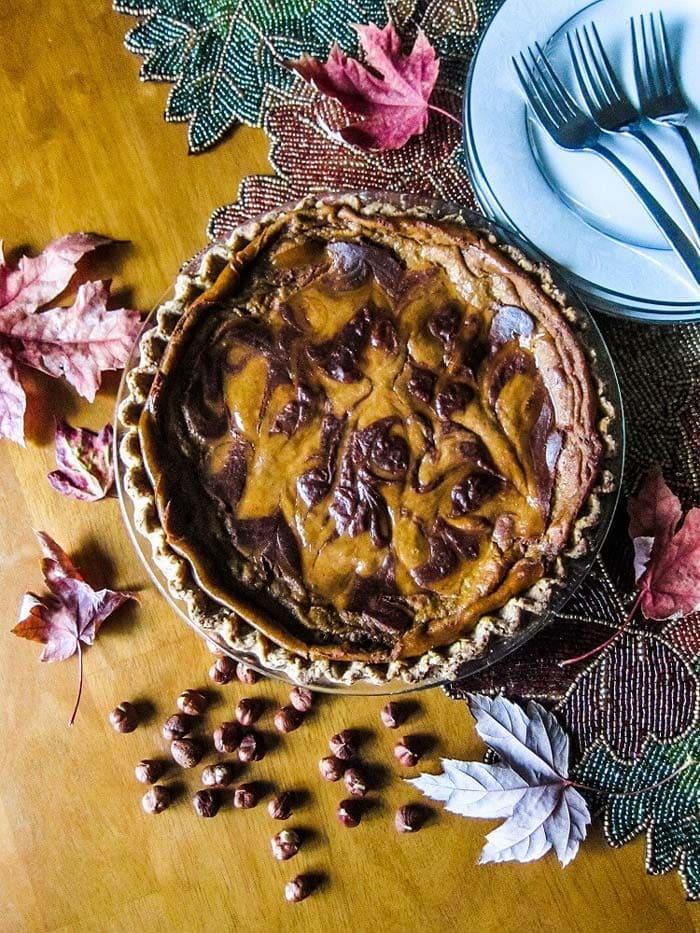 Vegan Chocolate Hazelnut Swirled Pumpkin Pie