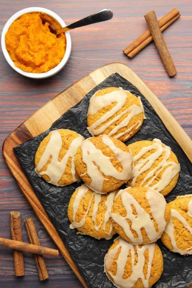 Vegan Pumpkin Cookies with Maple Glaze