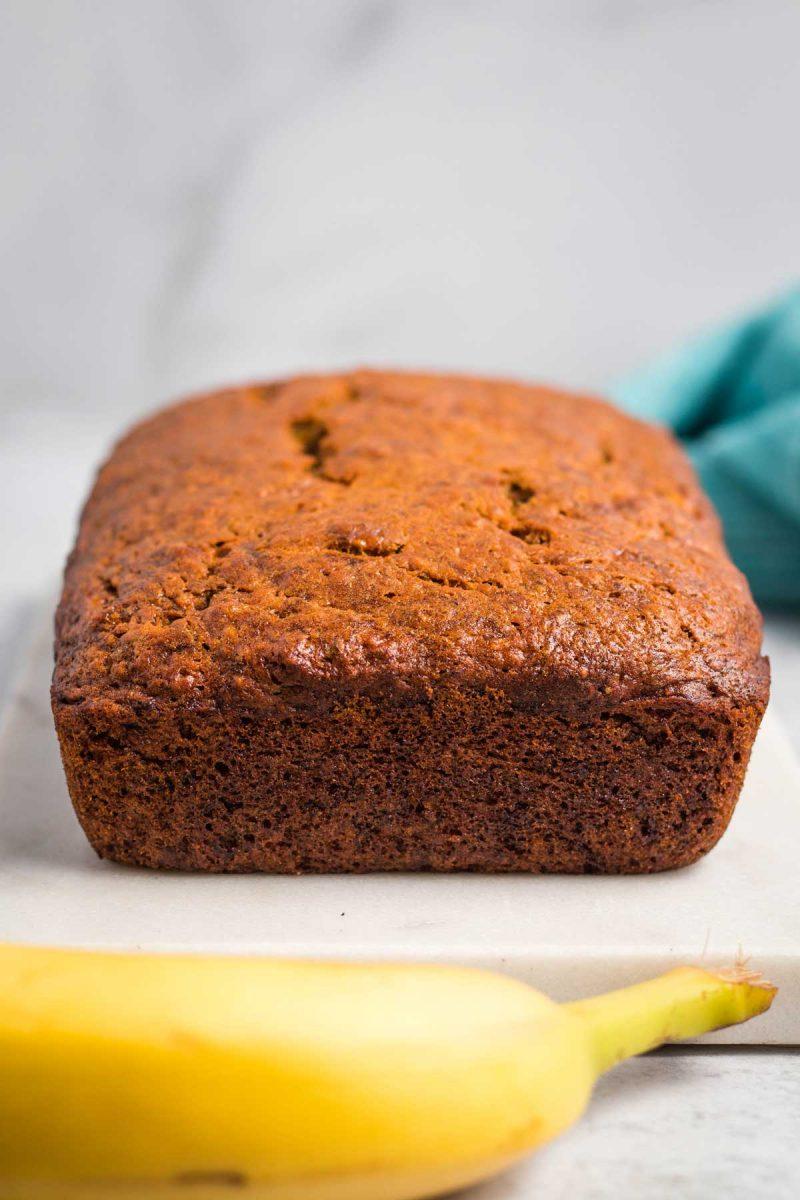 A loaf of moist vegan banana bread.