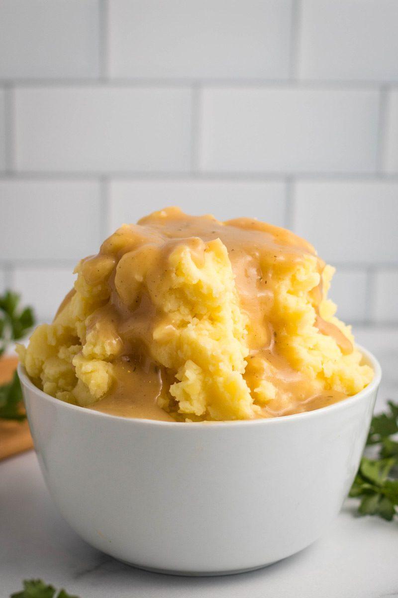 Gravy on mashed potatoes.