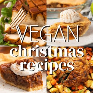 collage of vegan christmas recipes