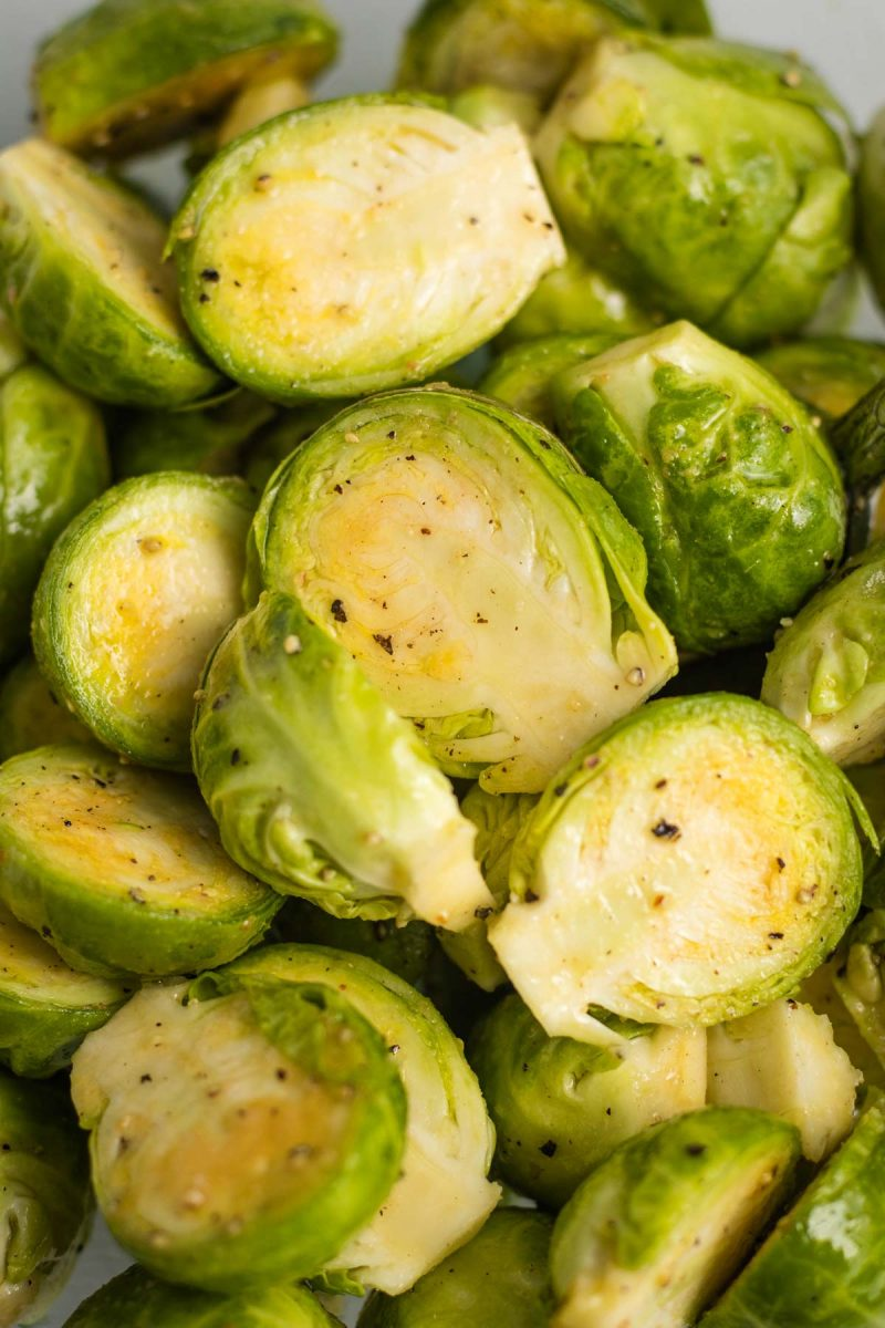 Sliced Brussels sprouts tossed in olive oil, garlic powder, pepper, and salt.
