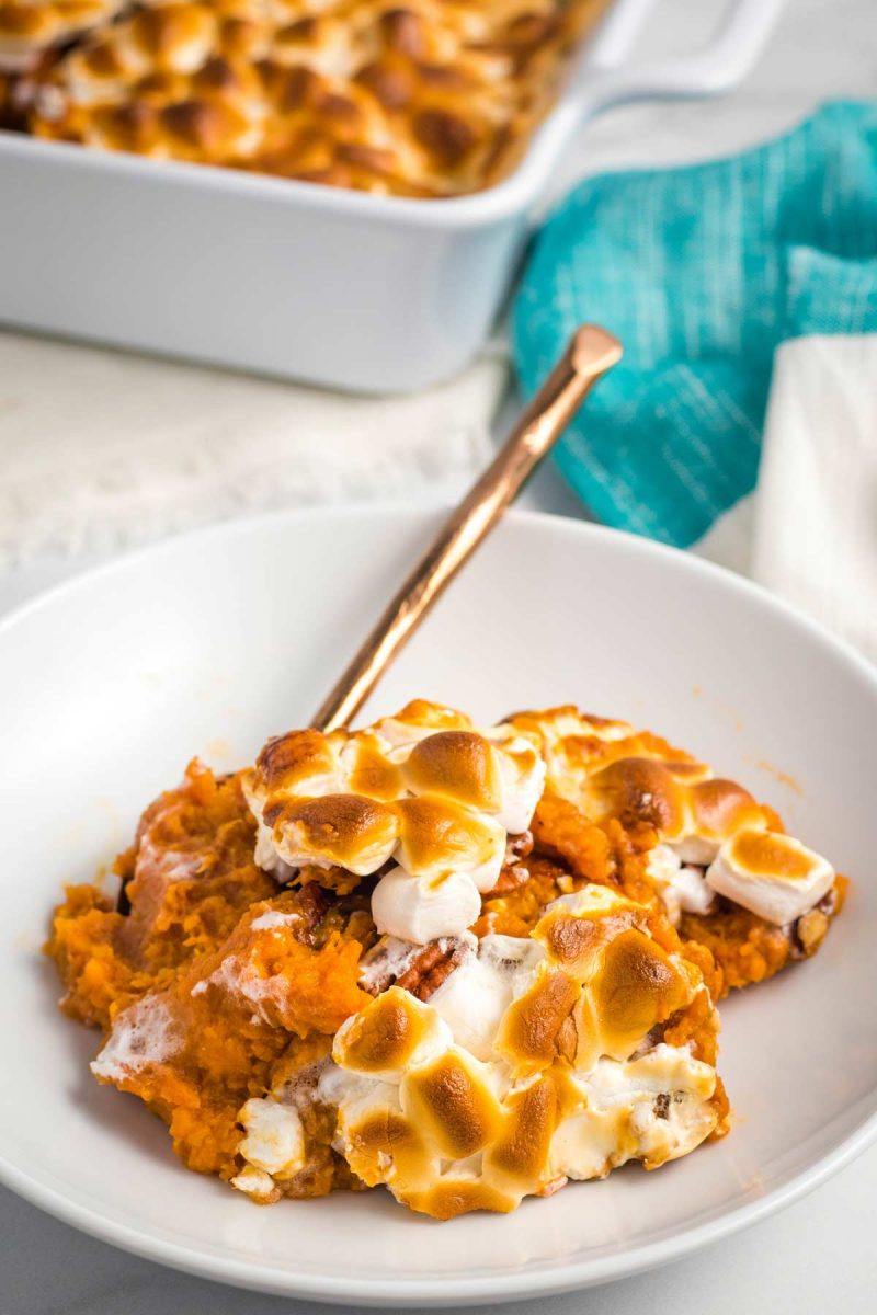 A bowl full of sweet potato casserole.