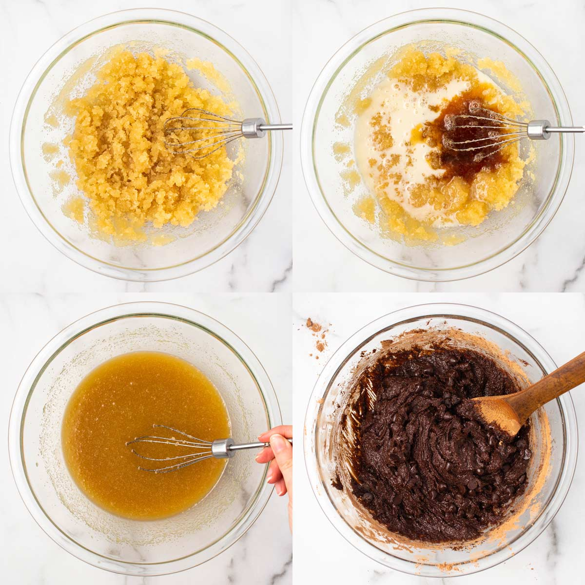 4 images showing a step-by-step of making vegan brownie batter. Top left: butter and sugar mixed together. Top right: milk and vanilla added. Bottom left: All wet ingredients mixed. Bottom right: Dry ingredients mixed into wet.
