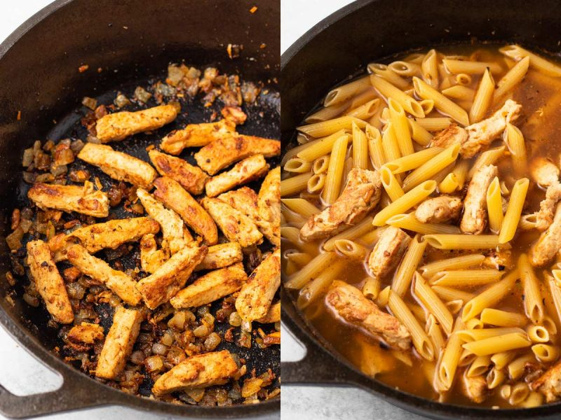 Left image: onions and vegan chicken browned in pan. Right image: Cajun seasoning, pasta, and vegetable added to pan and ready to cook.