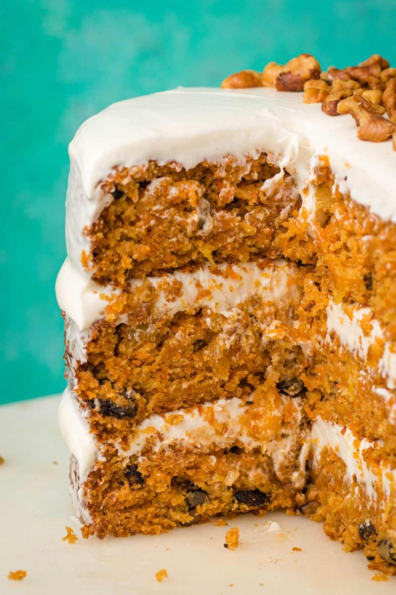 Vegan carrot cake with tangy cream cheese frosting.