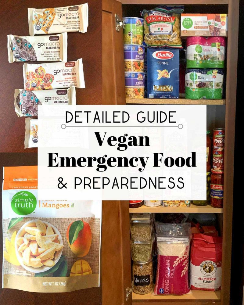 "Collage image of canned good and pantry items that reads: ""Detailed Guide: Vegan Emergency Food & Preparedness"""