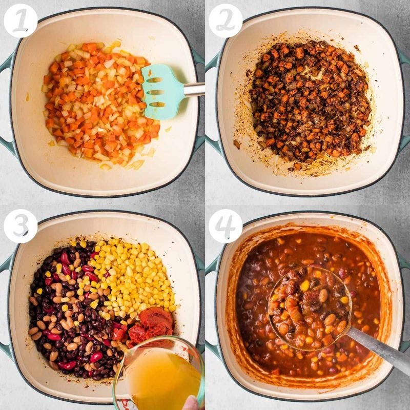 A collage with 4 step-by-step photos. 1) Sautéed carrots and onions 2) Adding spices 3) Adding remaining ingredients 4) Finished chili on a ladle