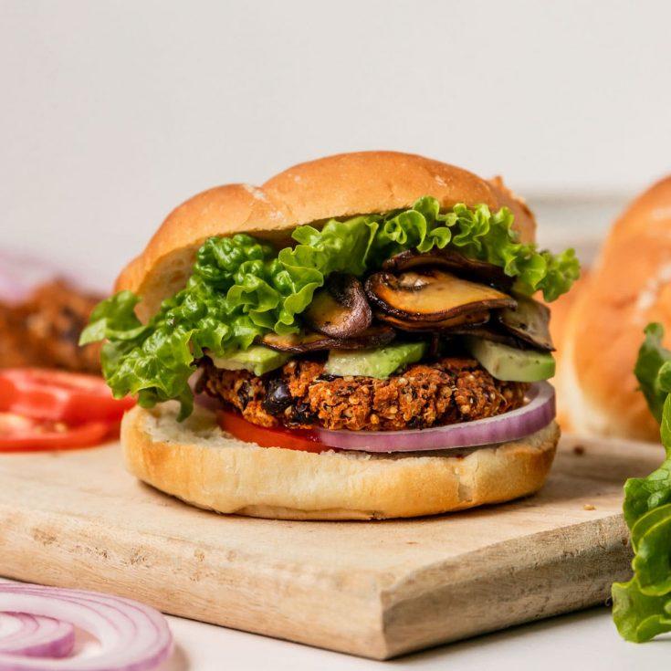 Vegan Black Bean Quinoa Veggie Burger