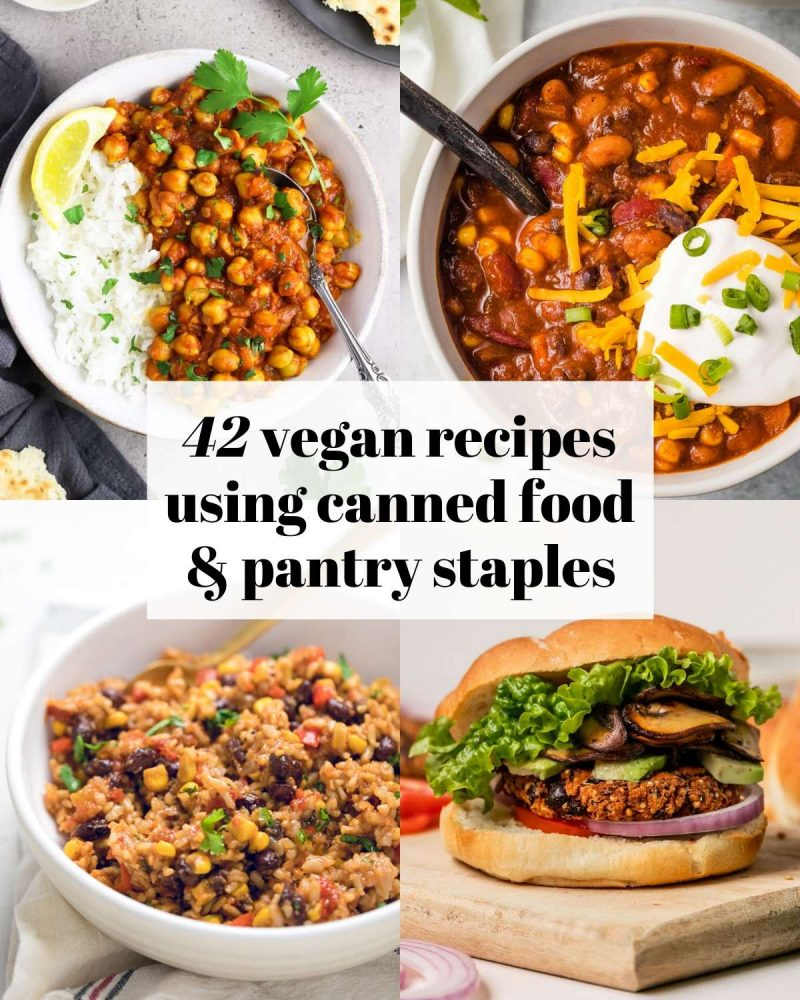A collage of 4 images with texting reading: 42 vegan recipes using canned food and pantry staples.