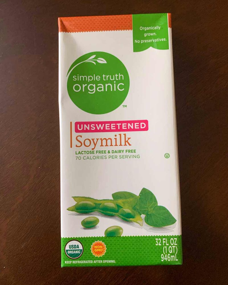 Carton of shelf-stable soy milk.