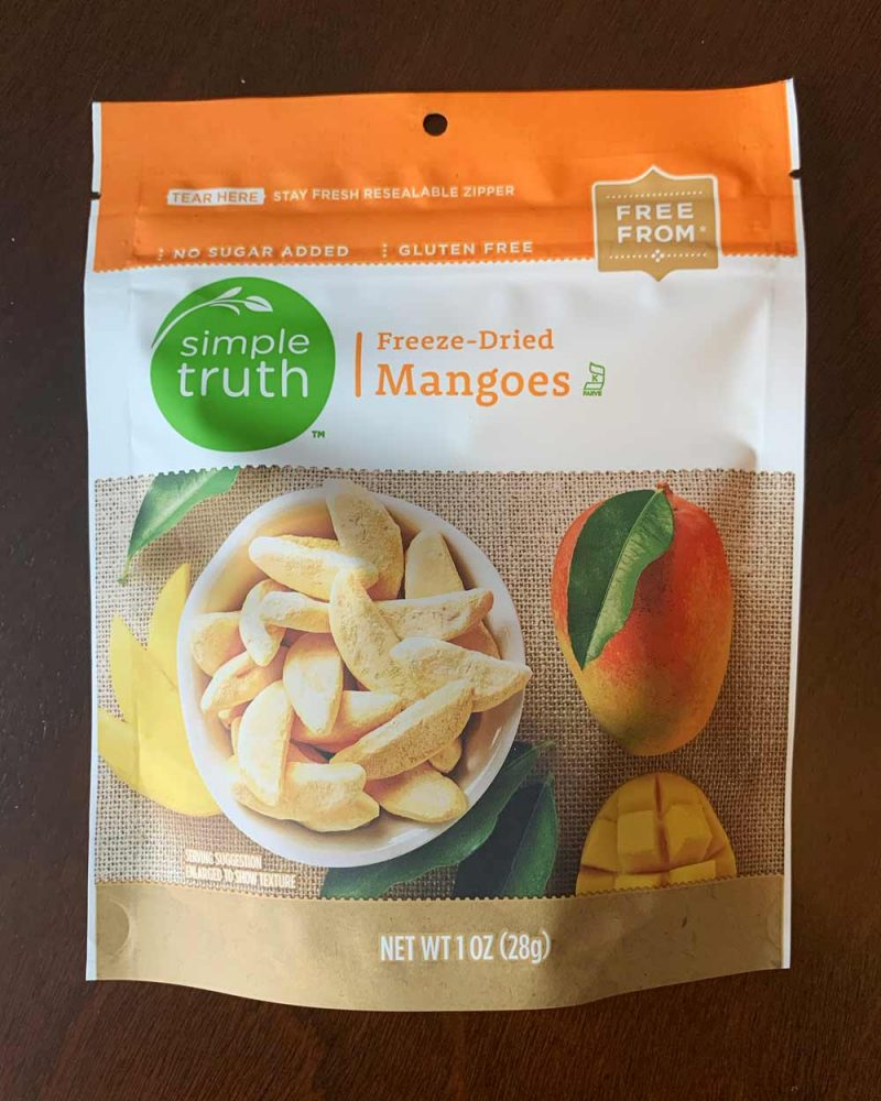 Package of freeze dried mangoes.