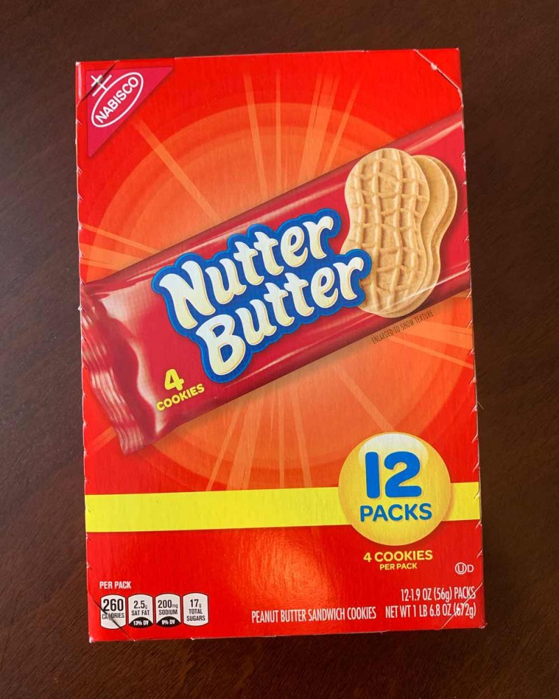Box of Nutter Butter cookies (accidentally vegan snack!)