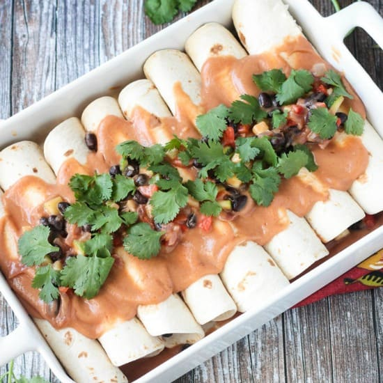 Black Bean & Zucchini Vegan Enchiladas