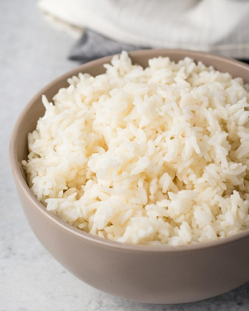 Instant Pot white rice in a bowl.