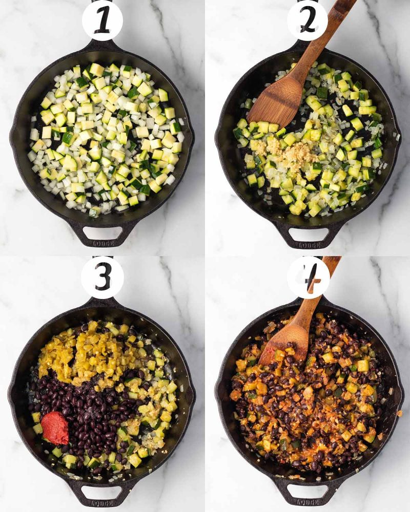 Step by step collage: 1) Zucchini and onions in a cast iron pan. 2) Garlic added to the pan with a wooden spoon to stir. 3) Green chiles, tomato paste, black beans, and tomato paste added to the pan. 4) All ingredients mixed together and cooked.