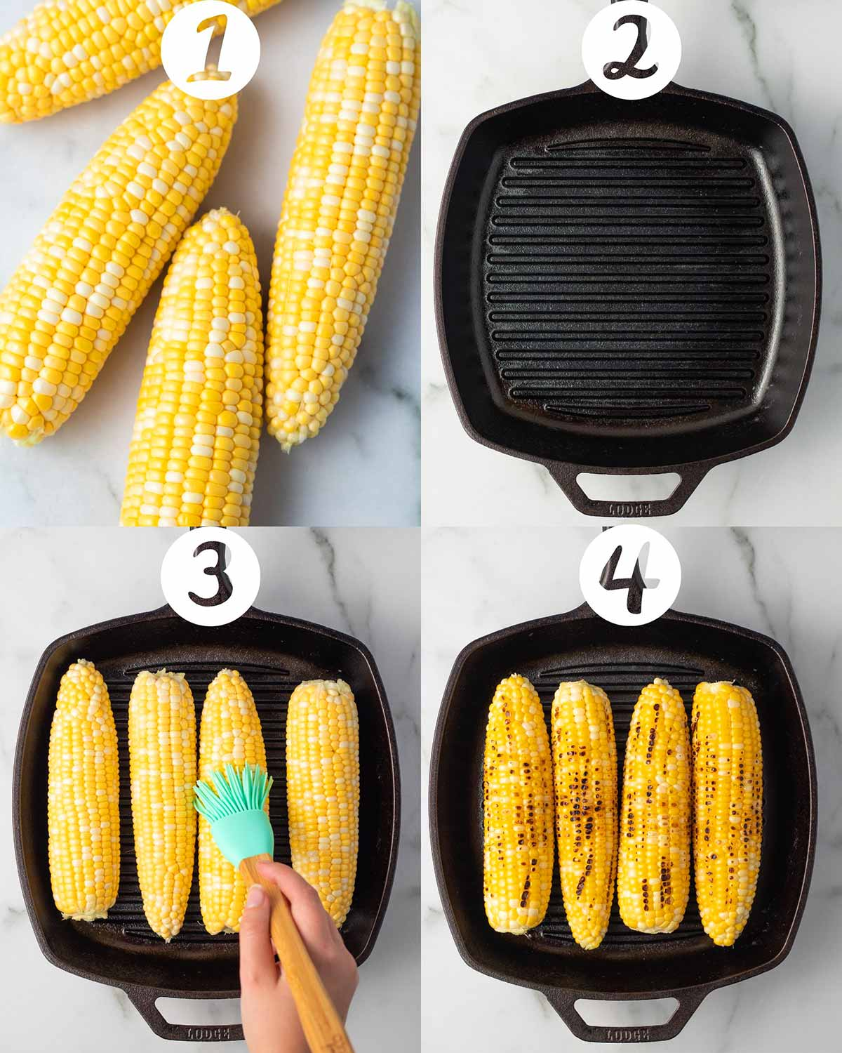 A step-by-step collage of four images: the first shows 4 ears of corn on the cob shucked, the second shows a cast iron grill pan, the third shows corn on the grill pan being brushed with olive oil, and the fourth shows the corn grilled with the char marks.