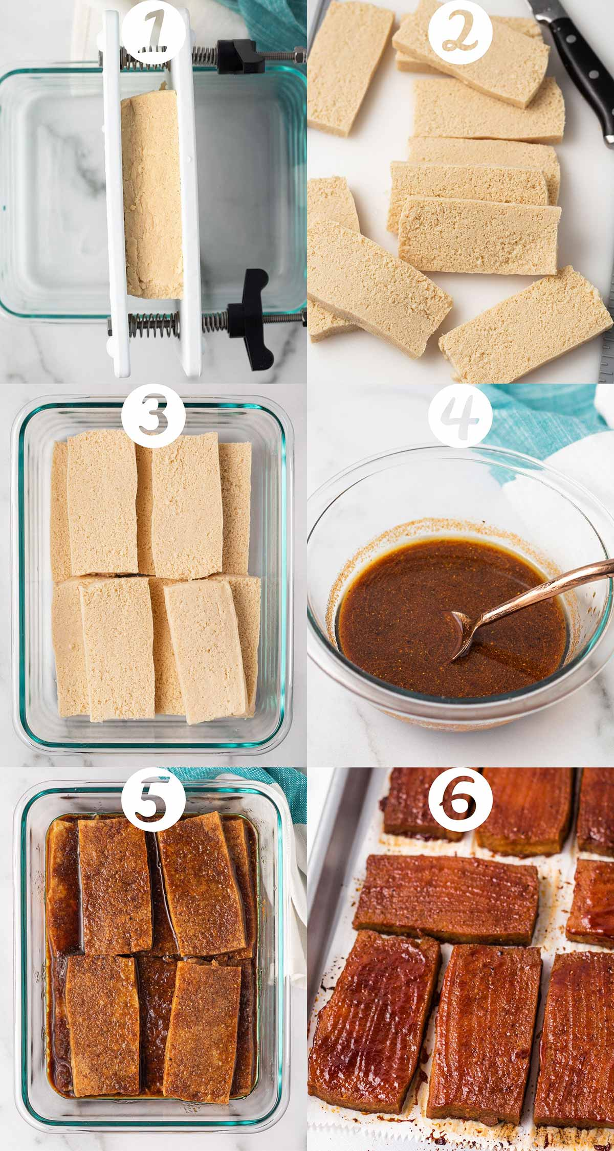 A step-by-step collage of 6 images for making baked BBQ tofu. Images in order: tofu being pressed, tofu sliced on cutting board, sliced tofu in a glass container, marinade in a bowl, marinade poured over tofu, and the finished baked tofu on a sheet pan.