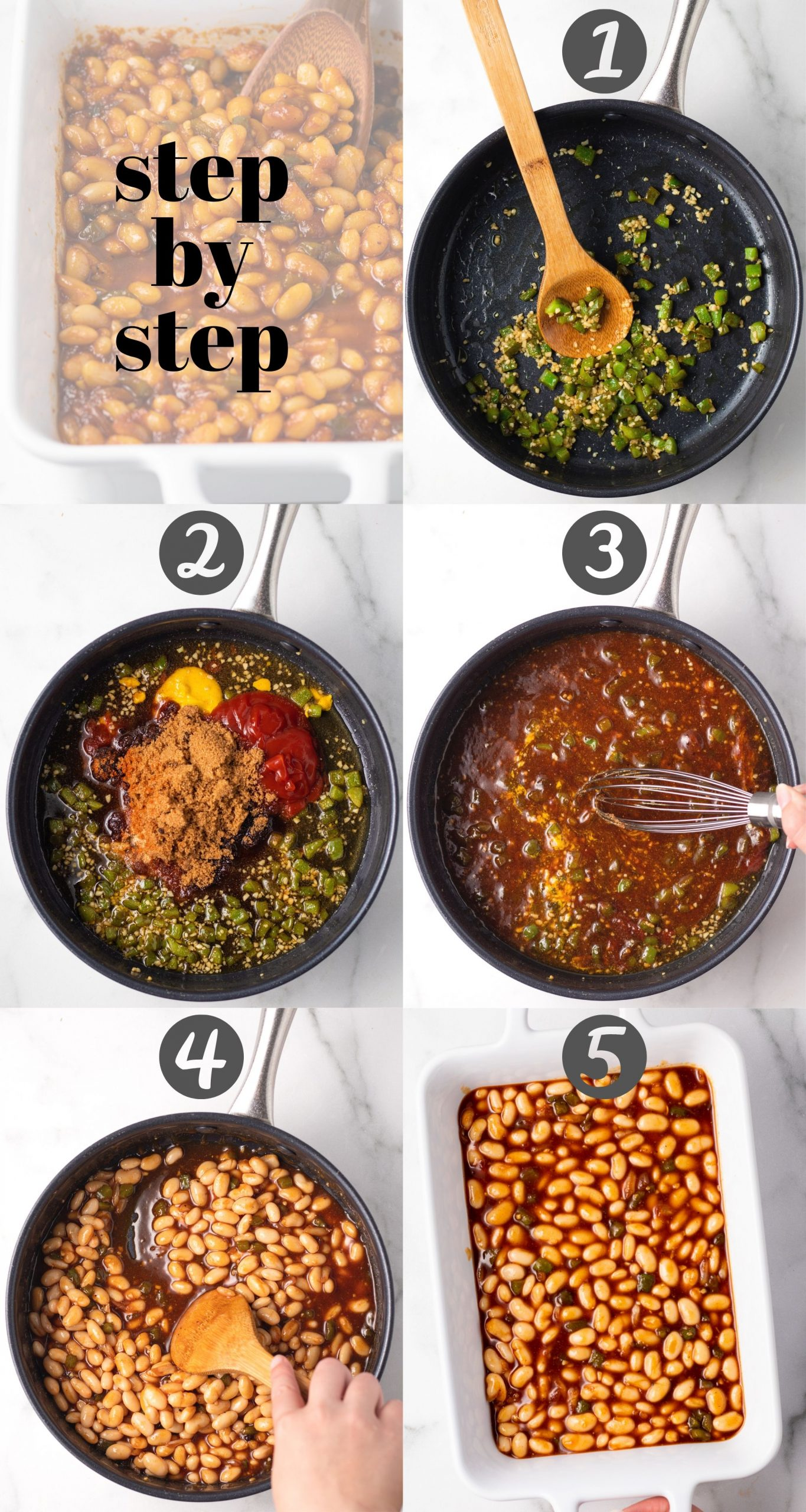 A step-by-step collage for making baked beans. The first image shows green bell peppers and garlic being sautéed in a pan, the second shows the sauce ingredients being added, the third shows the sauce being whisked together, the fourth shows a spoon stirring in the beans, and the fifth image is of the baked beans in a rectangle baking dish.