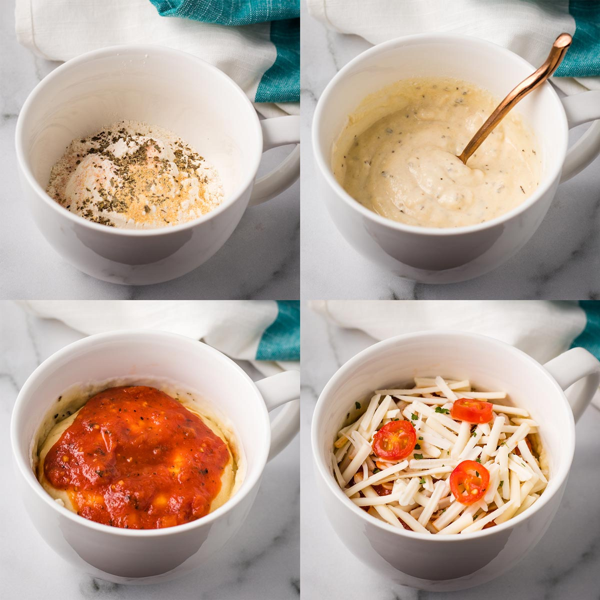 A collage of 4 images, showing the steps to make vegan mug pizza.