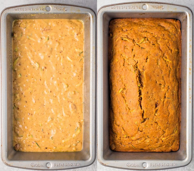 A collage of two images. The first image shows the batter added to a loaf pan. The second is the finished baked loaf.