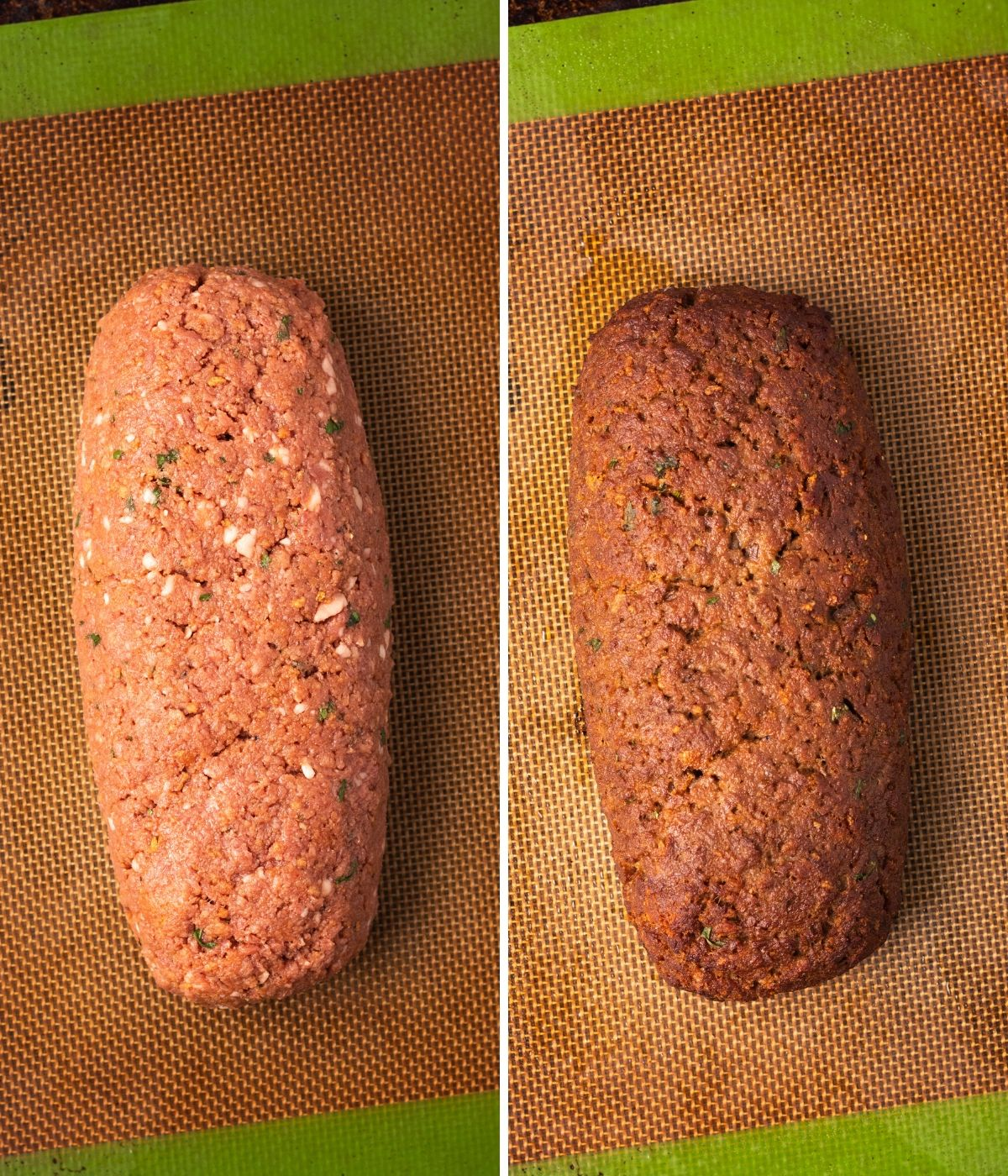 A collage of two images, side by side. The first is of raw meatloaf on a baking sheet. The second is the baked meatloaf.