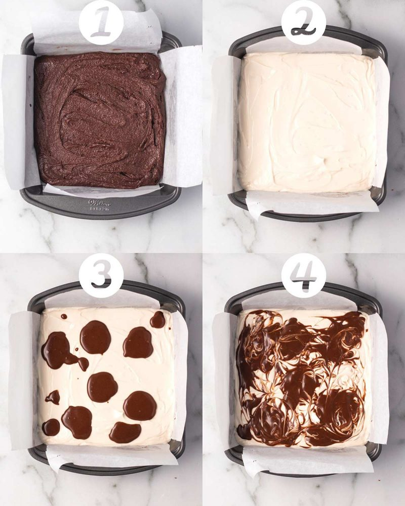 A collage of four numbered images showing steps to layering vegan cheesecake brownies. 1) Brown layer added to a square pan. 2) Cheesecake layer added on top. 3) Some extra brownie batter dolloped on top. 4) Swirls created in the batter with a toothpick for a marbled look.